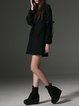 Black A-line Wool Blend Long Sleeve Mini Dress