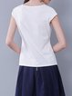 White Paneled Cotton-blend Short Sleeved Top