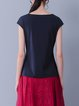 Navy Blue Crew Neck Paneled Simple Short Sleeved Top