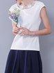 White Paneled Cotton-blend Short Sleeved Top
