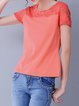 Simple Cotton-blend Short Sleeve Plain Paneled T-Shirt