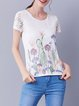 White Sweet Floral-print Short Sleeved Top