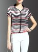 Multicolor Printed Stripes Work Short Sleeved Top