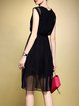 Black Sleeveless Plain Shirred Crew Neck Midi Dress