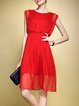 Red Plain Crew Neck Casual Midi Dress