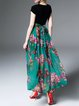 Green Short Sleeve Swing Maxi Dress