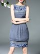 Gray Elegant Sheath Embroidered Floral Midi Dress