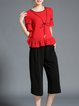 Red Crew Neck Frill Sleeve Two Piece Work Jumpsuit