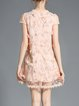 Apricot Girly Appliqued Crew Neck Mini Dress