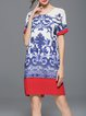 Blue Printed Floral Crew Neck Vintage Mini Dress