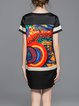 Black Abstract Casual Polyester H-line Mini Dress