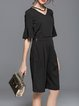Black V Neck Frill Sleeve Two Piece Jumpsuit