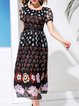 Multicolor Crew Neck Casual Silk Floral-print Midi Dress