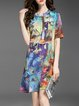 Multicolor Silk Printed Stand Collar Casual Midi Dress