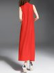 Red Silk-Linen Crew Neck Plain Sleeveless Midi Dress