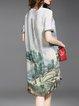 Multicolor Printed Vintage Silk Midi Dress