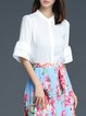 White Stand Collar Work Plain Polyester Blouse