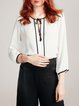 White Chiffon Keyhole Work Plain Blouse