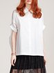 White High Low Short Sleeve Shirt Collar Blouse
