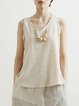 Apricot Sleeveless Plain V Neck Tanks