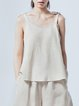 Apricot Casual Linen Bow Spaghetti Tanks And Cami