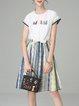 Multicolor Chiffon Stripes Short Sleeve Midi Dress