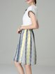 Multicolor Chiffon Stripes Short Sleeve Midi Dress