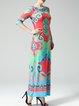 Multicolor Casual Sheath Square Neck Maxi Dress