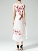 White Vintage Floral Floral-print Midi Dress