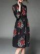 Black Geometric Printed Casual Midi Dress