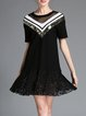 Black A-line Geometric Crew Neck Casual Mini Dress