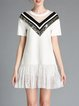 White Crew Neck Paneled Geometric Girly Mini Dress