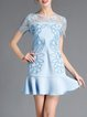 Blue Floral Embroidered Short Sleeve Flounce Mini Dress