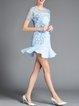 Blue Lace Crew Neck Sexy Flounce Mini Dress