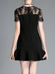 Black Lace Short Sleeve Embroidered Floral Mini Dress
