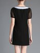 Black Polyester Short Sleeve Embroidered Mini Dress