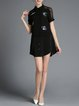Black Casual H-line Embroidered Animal Print Mini Dress