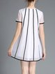 Appliqued Crew Neck Stripes Short Sleeve Girly Mini Dress