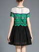 Short Sleeve Mesh Lace Shift Girly Crocheted Mini Dress
