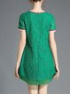 Green Lace Plain Pierced Short Sleeve Plus Size Mini Dress