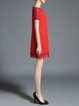 Red Beaded Plus Size Short Sleeve Mini Dress