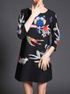 Black Owl Printed Sweet 3/4 Sleeve Mini Dress