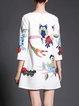 White Owl Printed Sweet 3/4 Sleeve Mini Dress