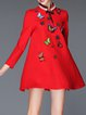 Red Stand Collar Embroidered Long Sleeve Animal Print Mini Dress