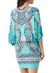 Green V-neck Batwing H-line Tribal Jersey Mini Dress