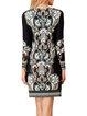 Black Floral Beaded Jersey H-line Elegant Mini Dress