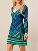 Green Sexy Jersey Long Sleeve Tribal Mini Dress