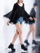 Black Silk V Neck Swing Casual Blouse
