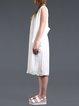 White Silk Slit Sleeveless Plain Vests And Gilet