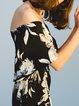 Black Silk Floral-print Off-shoulder Rompers
